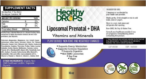 Natural Healing Room - Liposomal Prenatal Vitamins - Minerals and DHA